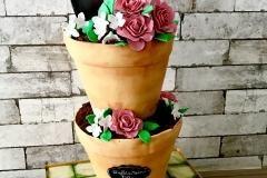 bloempotten taart