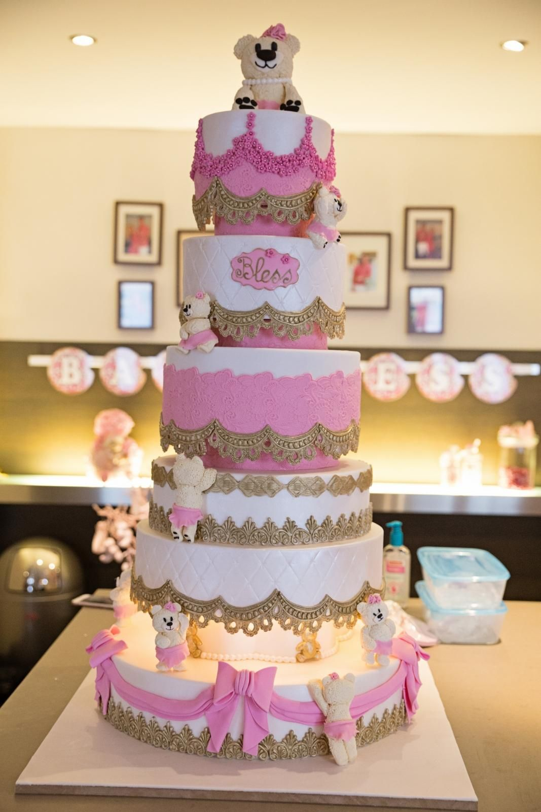 pink and gold birth cake
