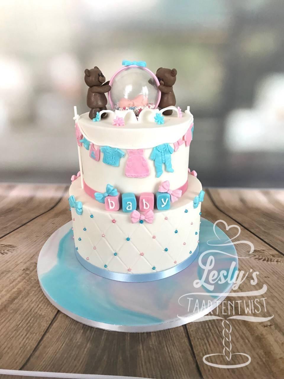 baby reveal taart met beren