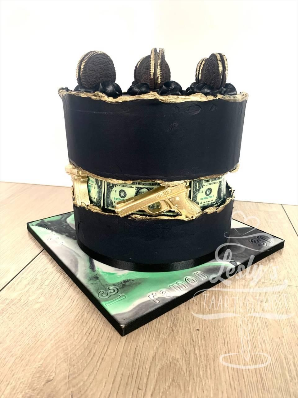 black-and-gold-pistol-cake