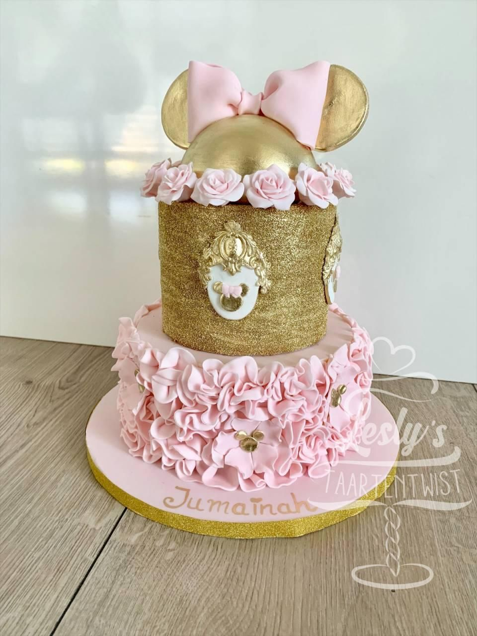 minnie mouse gold cake