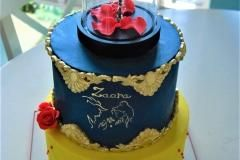 beauty and the beast cake with lights rose