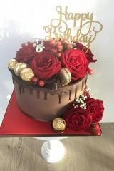 red chocolate dripe cake